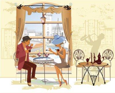 Plakat Para, mężczyzna i kobieta, w kawiarni.
