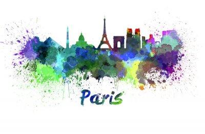 Plakat Paris skyline w akwareli