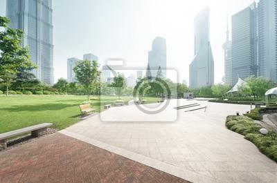 Plakat park w centrum finansowym Lujiazui, Szanghaj, Chiny