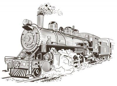 Plakat Parowóz ilustracji w stylu vintage