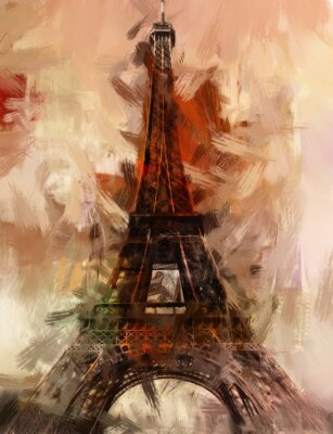 Plakat Paryż Gemälde Eiffelturm Eifelturm Bild Kunst Ölgemälde