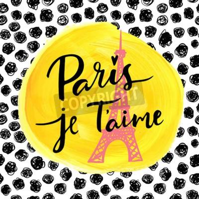 Plakat Paryż, kocham cię. Moda nowoczesne tło.