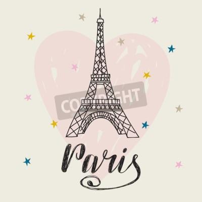 Plakat Paryż Ręcznie Rysowane Ilustracji Z Wieży Eiffla Romantyczna