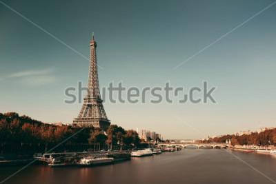 Plakat Paryż Sekwana z Wieżą Eiffla we Francji.
