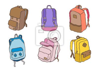 Pastelowa torba sportowa plecak tornister doodle wektor ilustracja kreskówka zestaw B