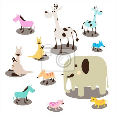 Pastelowego końskiego słonia psa lis żyrafy szczura żywych zwierząt dzikich ilustracyjnych doodle wektorowi dzikie zwierzęta ustawiający