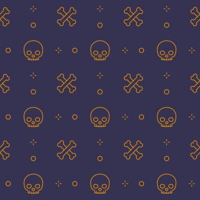 pattern with skull and bones, line design, dark seamless halloween vector background