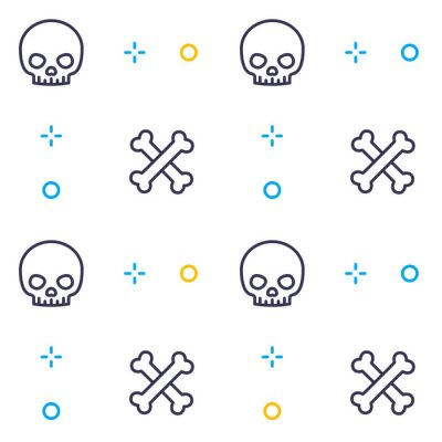 pattern with skull and bones, linear design
