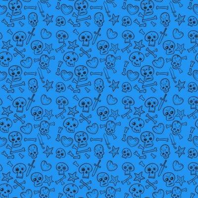 pattern with skulls and hearts, daggers, bones, vector illustration
