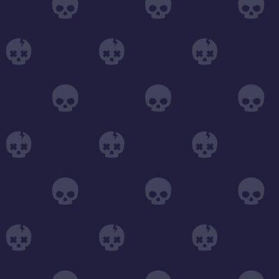 pattern with skulls, dark seamless background, vector