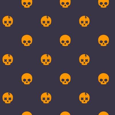 pattern with skulls, dark seamless halloween vector background