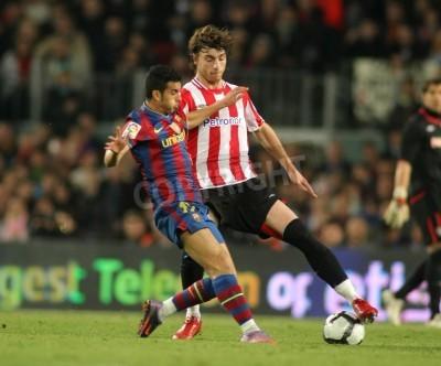 Plakat Pedro w Barcelonie i Bilbao w akcji podczas meczu z Amorebieta Ligi Hiszpańskiej pomiędzy FC Barcelona i Athletic Bilbao na stadionie Camp Nou na 3 kwietnia 2010 w Barcelonie, Hiszpania