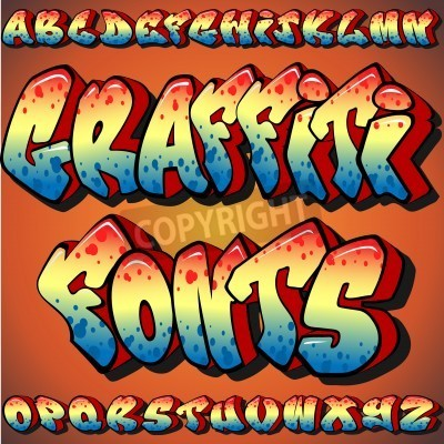 Plakat Pełny zestaw Graffiti Fonts