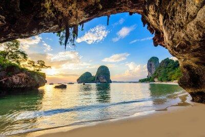 Plakat Phra Nang Cave Beach at sunset - Tropical coast scenery of Krabi - Paradise Travel destination in Thailand, Asia