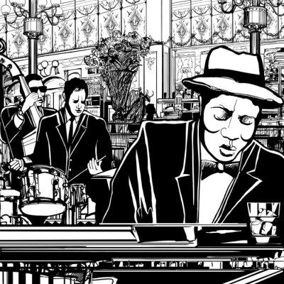 Plakat piano-Jazz band w restauracji
