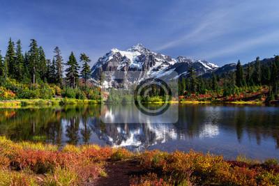 Plakat Picture lake reflecting Mount Shuksan on a beautiful day in Washington State