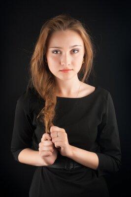 Plakat Piękna brunetka młoda kobieta