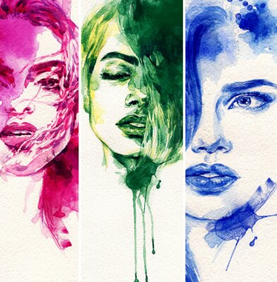 Plakat Piękna kobieta. Akwarele ilustracji