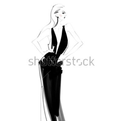 Plakat Piękna kobieta w czerni sukni odizolowywał rysunek. Seksowny młoda dziewczyna moda szkic.