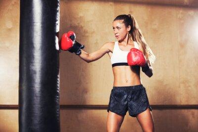 Plakat Piękna kobieta z czerwonym rękawice boks