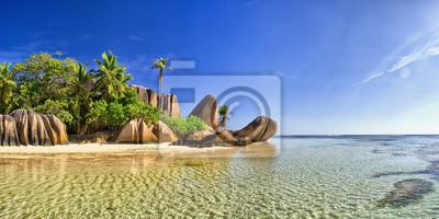 Plakat Piękna plaża w Seychell wyspie