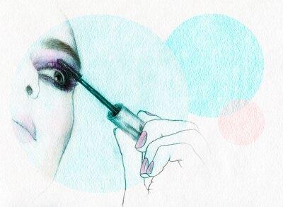 Plakat Piękna twarz kobiety. Akwarele ilustracji