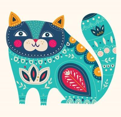 Plakat Piękne dekoracyjne wektora kot w kolorze niebieskim