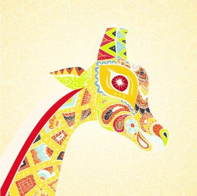Plakat Piękne dorosłych Żyrafa. Ręcznie rysowane ilustracji ozdobnych żyrafy. Barwne żyrafa na ozdobnym tle.