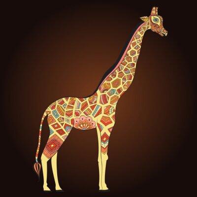 Plakat Piękne dorosłych Żyrafa w boho. Ręcznie rysowane ilustracji ozdobnych żyrafy. Barwne żyrafa na ozdobnym tle.