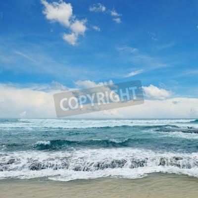 Plakat piękne fale na morzu