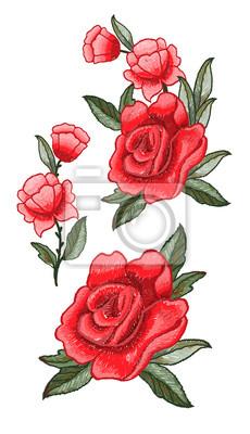 Piękne haftowanie kwiatów. Wzór haftowany dla projektu tekstylnego.