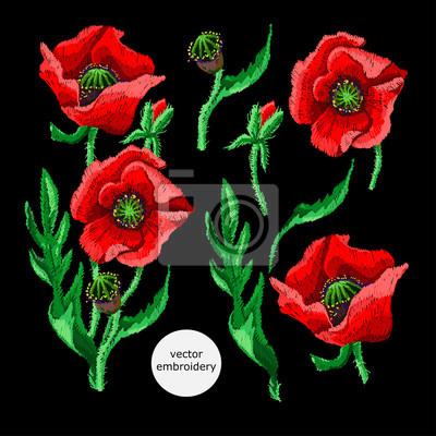 Piękne hafty kwiatów.Zespół do haftowania z elementami do projektowania.