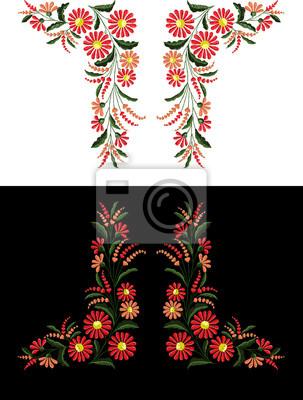 piękne kwiaty Haft wektorowych do projektowania tekstyliów