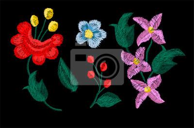 piękne kwiaty hafty wektor dla elementów tekstylnych