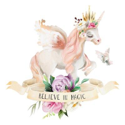 Plakat Piękne, słodkie, akwarela marzy jednorożec, Pegasus z kwiatami, złotą koronę, kwiatowy bukiet, gołąb i wstążki z qoute na białym tle