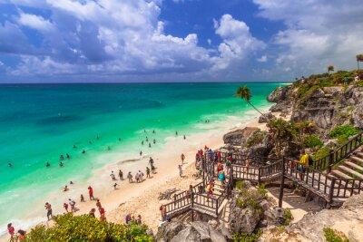 Plakat Pięknej plaży Tulum w Meksyku