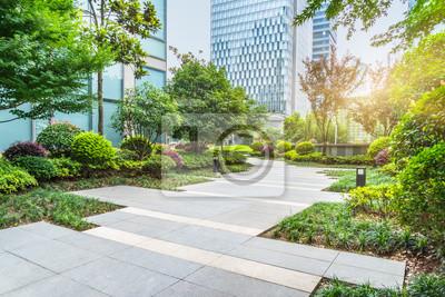 Plakat piękny park w słoneczny dzień, Szanghaj, Chiny.