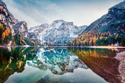 Plakat Pierwszy śnieg na jeziorze Braies. Kolorowy jesień krajobraz w Włoskich Alps, Naturpark Fanes-Sennes-Prags, Dolomit, Włochy, Europa. Piękno natury pojęcia tło.