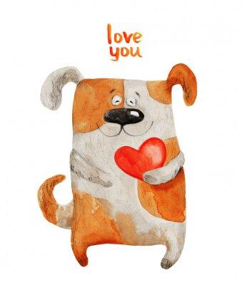 Plakat Pies z uśmiechem serca. Ilustracja akwarela