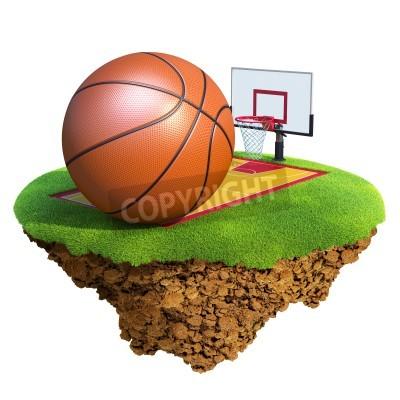 Plakat Piłka do koszykówki, tablica, obręcz i sąd opiera się na małej planecie. Koncepcja zespołu koszykówki lub projekt konkurencji. Wyspa Tiny / planeta kolekcji.