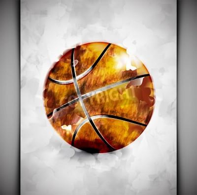 Plakat Piłka do koszykówki w stylu akwareli