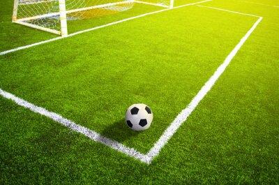 Plakat Piłka nożna pole trawy z oznakowania i piłkę, Sport