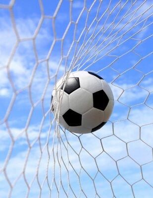 Plakat Piłka w siatce na błękitne niebo