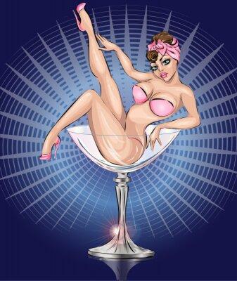 Plakat Pin up sexy girl noszenie bikini w różowe Martini szkła