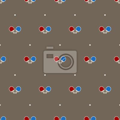 Ping-pong rakiety i piłki wektor Bez szwu deseń odizolowane tapety tła