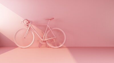 Plakat pink bike on pink wall side view