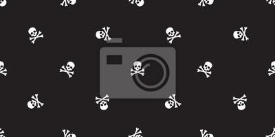 pirat bez szwu krzyż kość wektor wzór Halloween czaszka na białym tle tapety czarne