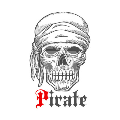 Pirat żeglarz czaszki w bandana szkicu symbolem
