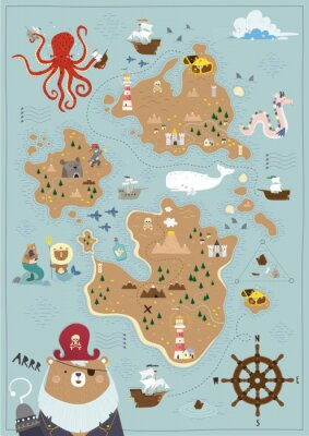 Plakat Pirate map for children in a Scandinavian style. Vector illustration. Perfect for play room design and posters for your child's room.
