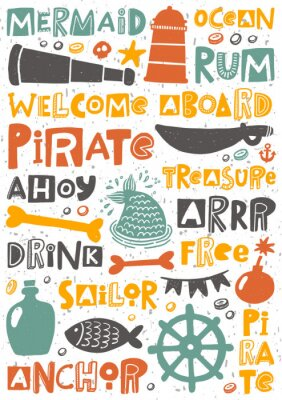 Plakat Pirate party hand written lettering poster. Colorful grunge banner with ink drops and stylized phrases. Decoration print.